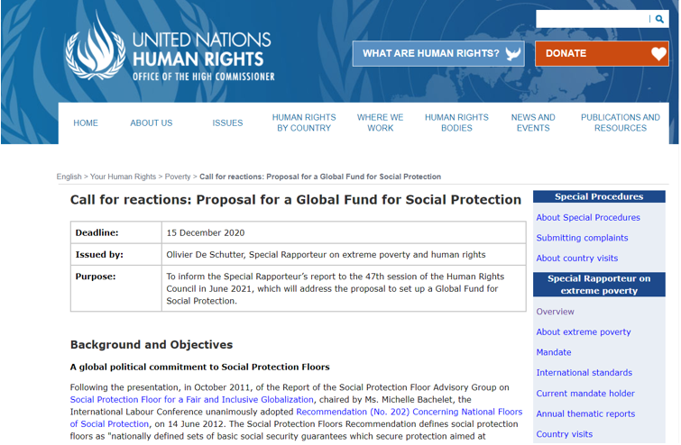 SOCIEUX+ presents its comments on the proposed United Nations' Global Fund for Social Protection